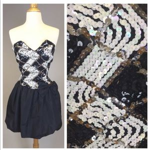 Vintage 80s Prom Dress Strapless Party
